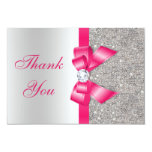 Hot Pink Faux Bow & Diamonds Thank You Card