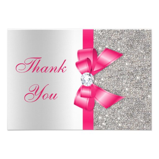 Hot Pink Faux Bow & Diamonds Thank You Invitation