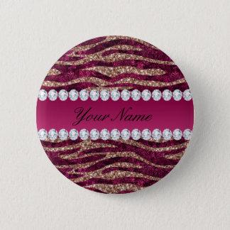 Hot Pink Faux Foil Zebra Stripes Rose Gold Button