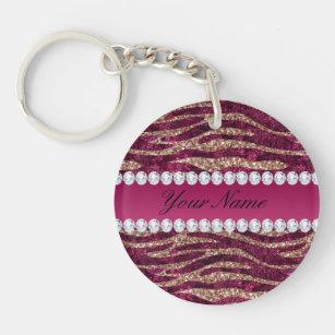 Hot Pink Faux Foil Zebra Stripes Rose Gold Keychain 8678b1914