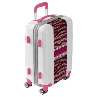 Hot Pink Faux Foil Zebra Stripes Rose Gold Luggage