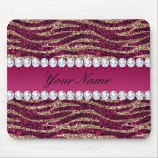 Hot Pink Faux Foil Zebra Stripes Rose Gold Mouse Pad