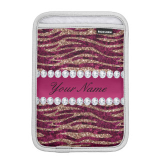 Hot Pink Faux Foil Zebra Stripes Rose Gold Sleeve For iPad Mini
