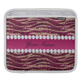 Hot Pink Faux Foil Zebra Stripes Rose Gold Sleeve For iPads