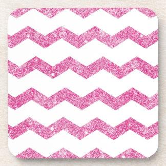hot pink,faux glitter,girly,teen,chevron,zigzag,pa beverage coaster