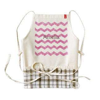 hot pink,faux glitter,girly,teen,chevron,zigzag,pa zazzle HEART apron