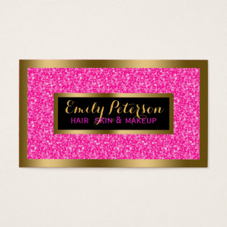 Hot Pink Faux Glitter Gold Accents Makeup Business Card