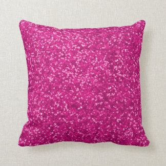 Hot Pink Faux Glitter Look Sparkly Sparkles Glam Throw Pillow