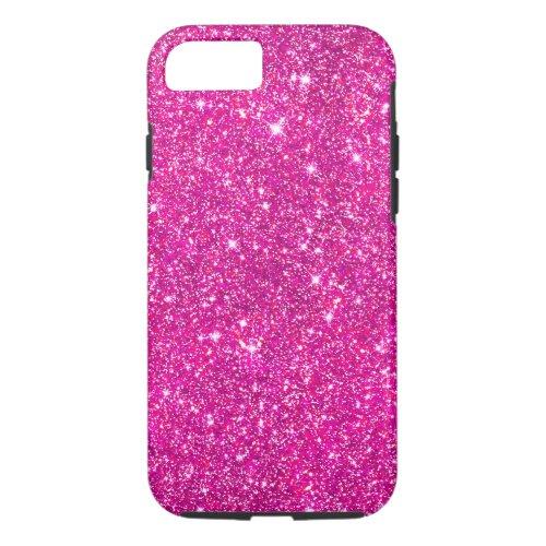 Hot Pink Faux Glitter Shining Pattern Girly Phone Case