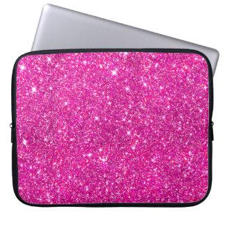Hot Pink Faux Glitter Shining Pattern Girly Laptop Computer Sleeve