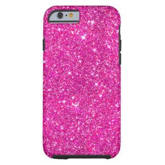 Hot Pink Faux Glitter Shining Pattern Girly Tough iPhone 6 Case