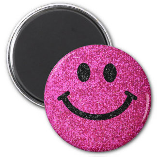 Hot pink faux glitter smiley face 2 inch round magnet