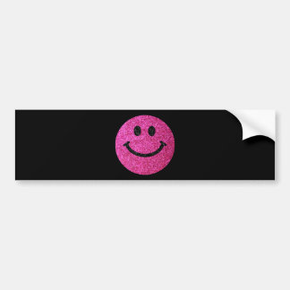 Hot pink faux glitter smiley face bumper sticker