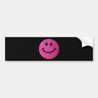 Hot pink faux glitter smiley face bumper sticker