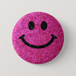 Hot pink faux glitter smiley face button