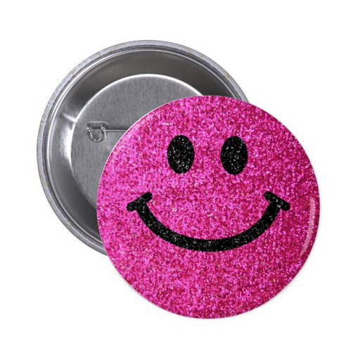 Hot pink faux glitter smiley face 2 inch round button
