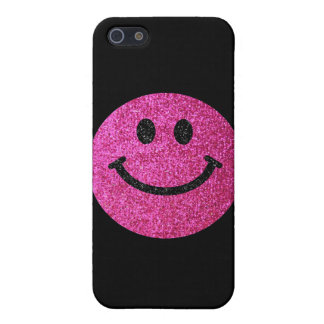 Hot pink faux glitter smiley face cover for iPhone SE/5/5s