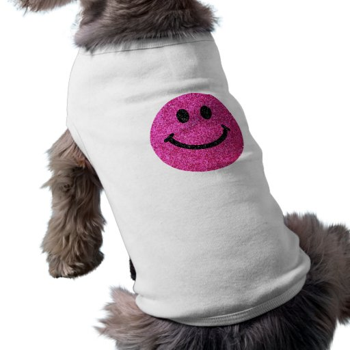 Hot pink faux glitter smiley face dog tee shirt