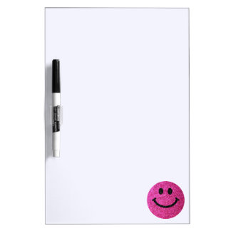 Hot pink faux glitter smiley face Dry-Erase board