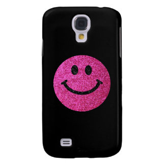 Hot pink faux glitter smiley face galaxy s4 case