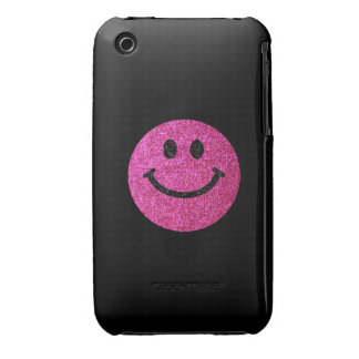 Hot pink faux glitter smiley face iPhone 3 Case-Mate case