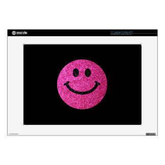 Hot pink faux glitter smiley face laptop decal