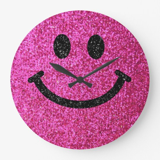 Hot pink faux glitter smiley face large clock