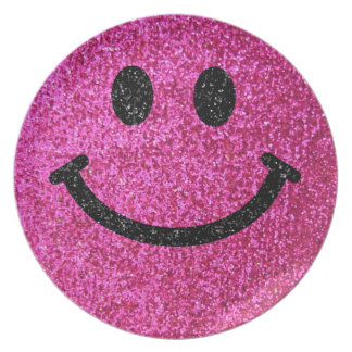 Hot pink faux glitter smiley face dinner plates