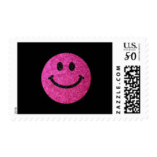 Hot pink faux glitter smiley face postage