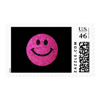 Hot pink faux glitter smiley face postage stamps