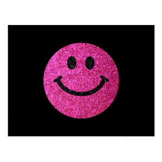 Hot pink faux glitter smiley face postcard