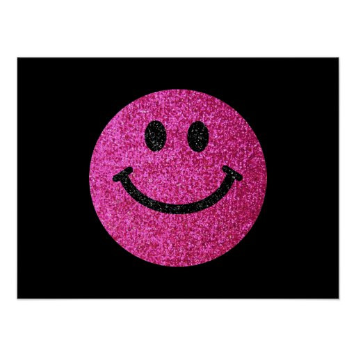 Hot pink faux glitter smiley face poster