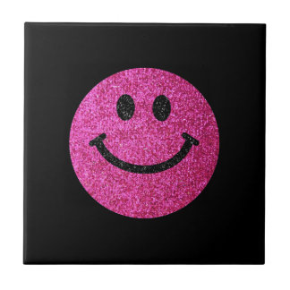 Hot pink faux glitter smiley face tile
