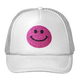 Hot pink faux glitter smiley face trucker hat