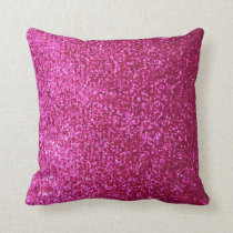 Hot Pink Faux Glitter Throw Pillow