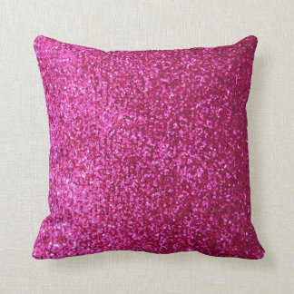 Hot Pink Faux Glitter Throw Pillow