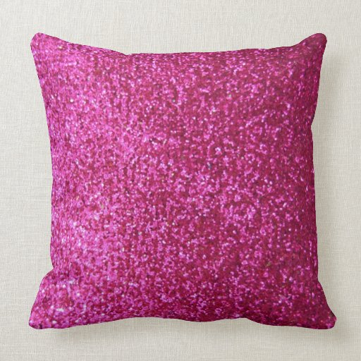Throw Pillows With Sparkle : Hot Pink Faux Glitter Throw Pillows Zazzle