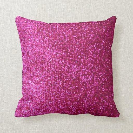 Hot Pink Faux Glitter Throw Pillows Zazzle
