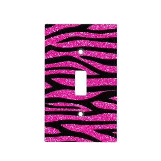 Hot Pink Faux Glitter Zebra Pattern Light Switch Plates
