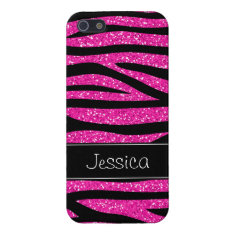 Hot Pink Faux Glitter Zebra Personalized Case For iPhone SE/5/5s at Zazzle