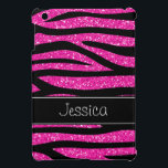 """Hot Pink Faux Glitter Zebra Personalized Cover For The iPad Mini<br><div class=""""desc"""">A trendy hot pink and black zebra pattern with a black stripe is featured on this iPad Mini case. Preppy and cute. Easily personalize with your name! Designs are flat printed illustrations/graphics - NOT ACTUAL GLITTER</div>"""