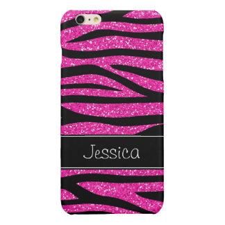 Hot Pink Faux Glitter Zebra Personalized Glossy iPhone 6 Plus Case