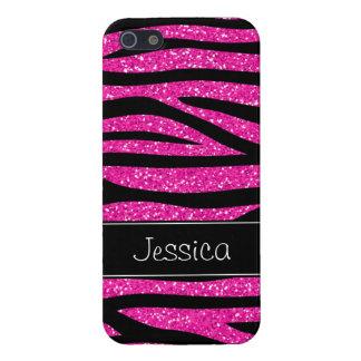 Hot Pink Faux Glitter Zebra Personalized iPhone 5/5S Case