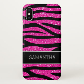Hot Pink Faux Glitter Zebra Personalized iPhone X Case