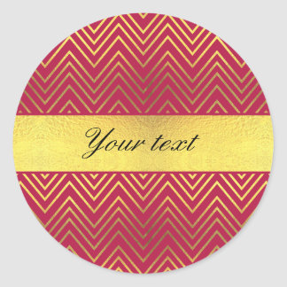 Hot Pink Faux Gold Foil Chevrons Classic Round Sticker