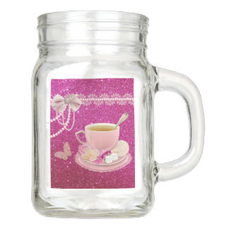 Hot Pink Faux Sparkles Tea Party Mason Jar