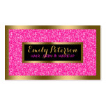 Hot Pink Fax Glitter Gold Accents Makeup Double-Sided Standard Business Cards (Pack Of 100)
