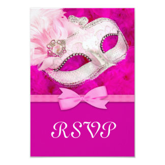 Hot Pink Feather Mask Masquerade Party RSVP 3.5x5 Paper Invitation Card