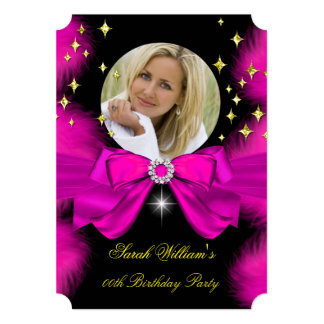 Hot Pink Feathers Bow Gold Birthday Party Photo 5x7 Paper Invitation Card