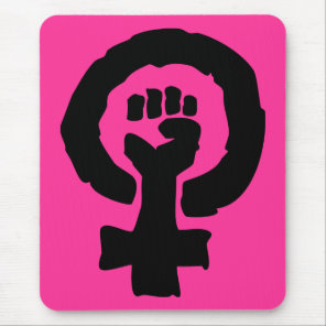 Hot Pink Female symbol solidarity hand Mouse Pad
